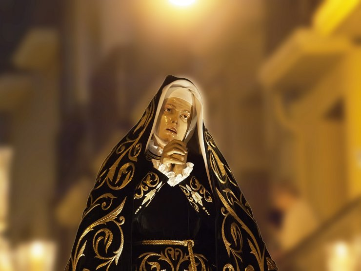 The Virgin is carried through the streets of Ibiza