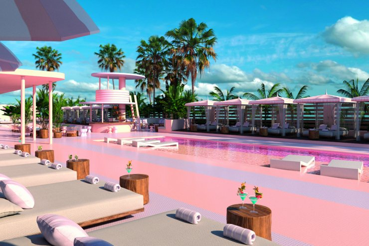 Paradiso Ibiza Art Hotel, pink pool, tropical garden