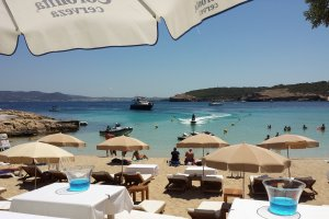 The clear waters of Cala Bassa
