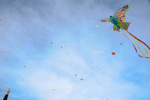 Kites of all colours in the Ibiza sky