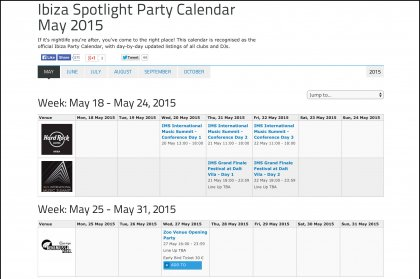 2015 Ibiza Spotlight party calendar online