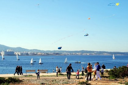 Kites flying high in Ibiza sky