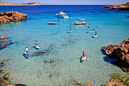 Paddling on two feet in an Ibiza paradise
