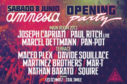 Amnesia Opening Party Line Up